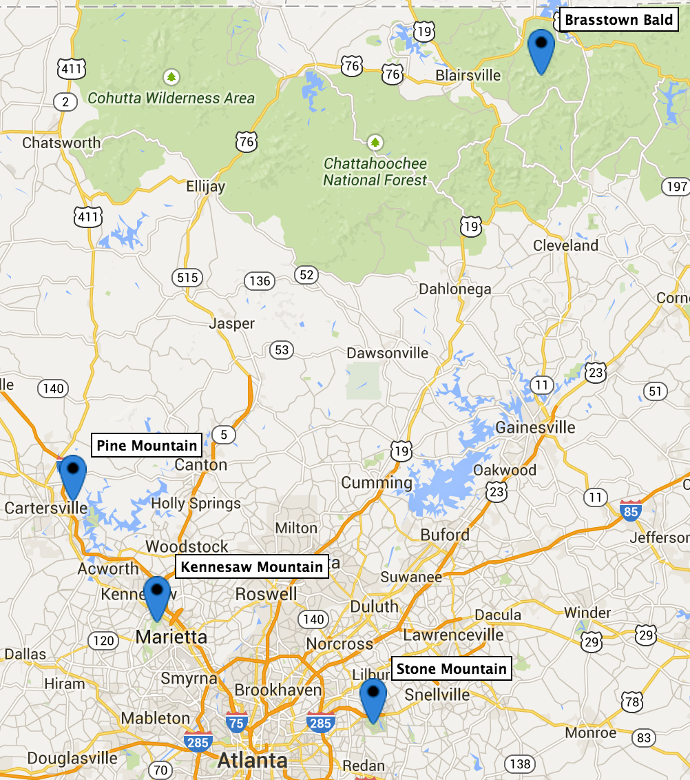 Map of Good Atlanta-area First-timer Summits
